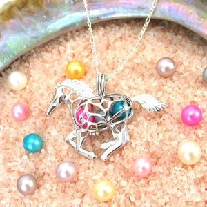 Jewelry - Horse Pearl Cage Pendant 925 Solid Sterling Silver